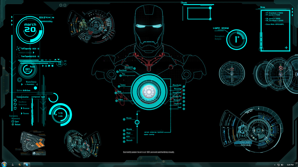 Jarvis Ironman Rainmeter Windows Theme with Voice Commands Download